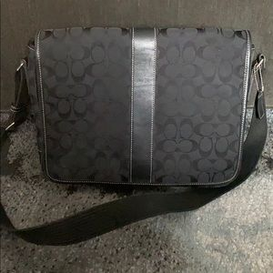Black Coach logo laptop bag